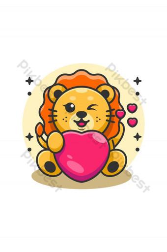 Lindo bebé león rey sosteniendo caricatura del corazón Elementos graficos Modelo AI