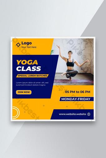 Редактируемый мир Yoga Day Социальные СМИ Социальные медиа Шаблон фитнес или тренажерный зал Веб-сайт Temp шаблон EPS