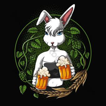 conejo sexy ofrece una ilustración vectorial de cerveza Elementos graficos Modelo EPS