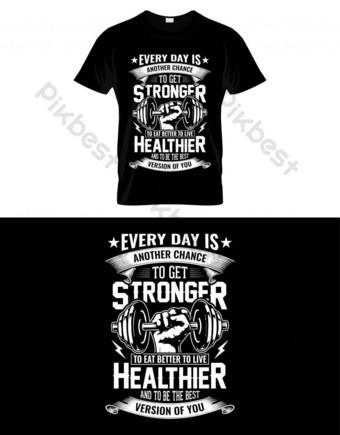Desain Gym Penawaran T Shirt Elemen Grafis Templat EPS