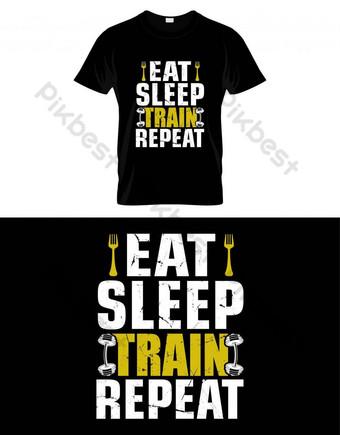 Тренажерный зал, цитата съел поезда повторить вектор футболку дизайн Графические элементы шаблон EPS