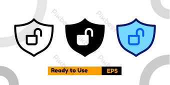 帶有三種風格的無保護的圖標,用於社交媒體演示和網站 元素 模板 EPS