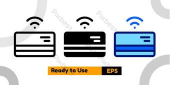 Icono de la tarjeta de pago con tres estilo para la presentación y el sitio web de las redes sociales Elementos graficos Modelo EPS