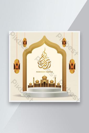 Spanduk Penjualan Ramadan Kareem Realistis dengan template podium 3D Templat EPS