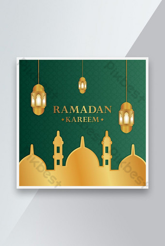 Template Ramadan Kareem Realistis Templat EPS