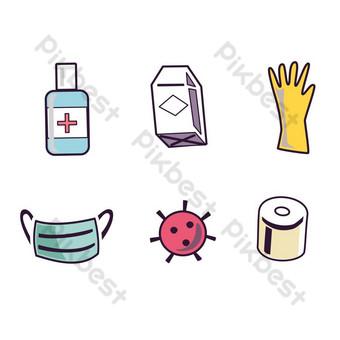 Wektor Covid 19 Ikony Coronavirus ikona zestaw projektu Elementy graficzne Szablon EPS