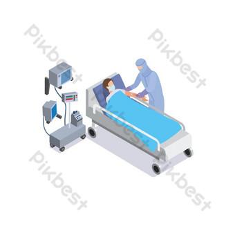 vektor png pasien dengan dokter di rumah sakit desain grafis covid 19 elemen Elemen Grafis Templat EPS