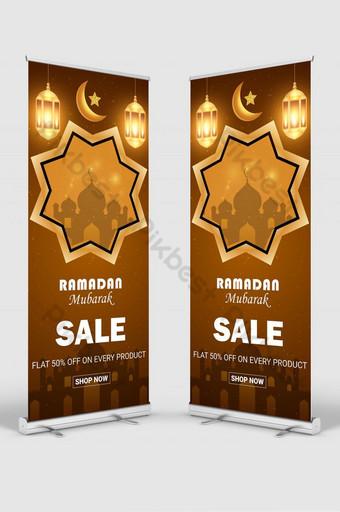 Desain Spanduk Rollup Ramadan Kareem Templat AI