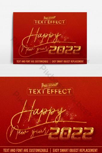 Bonne année 2022 Effet texte 100 Fichier EPS Vecteur modifiable Éléments graphiques Modèle PSD