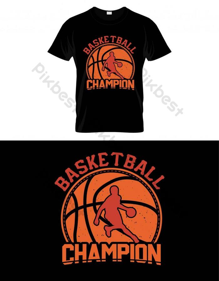 basket champion basket t shirt desain vektor poster atau template