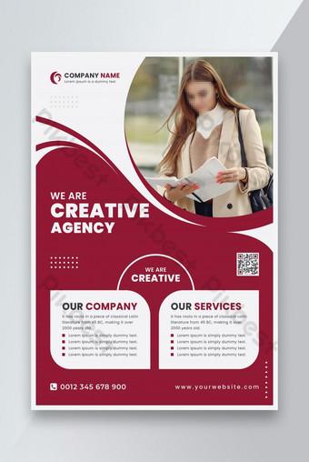 Diseño de plantilla de folleto de viajero corporativo rojo Modelo AI