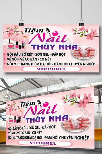 Poster tiệm nail nền hồng nhạt dễ thương Bản mẫu CDR