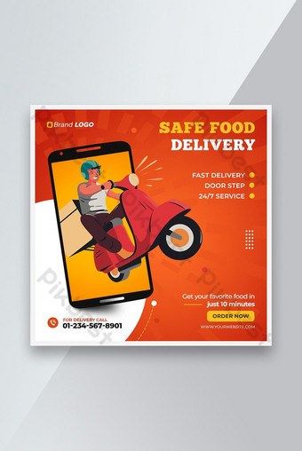 Food Delivery Social Media Post Templates Template PSD