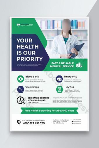 Modèle de flyer médical design ou clinique Flyer Modèle Design et conception de flyer de soins de santé Modèle EPS