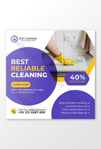 Cleaning Service Social Media Post Template AI