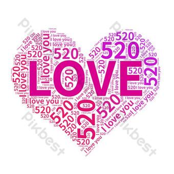 520 decoração de amor criativo Elementos gráficos Modelo AI