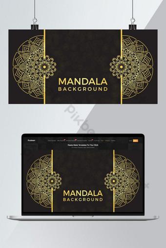 آثار لون الذهب الفاخرة ماندالا فن الخلفية خلفيات قالب AI