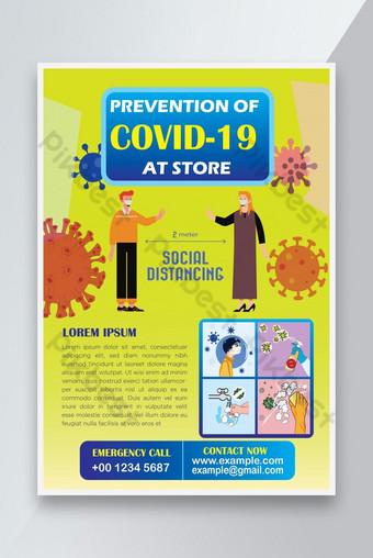 Zapobieganie Covid 19 w sklepie Coronavirus ulotki szablon projektu Szablon EPS