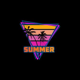 musim panas t shirt desain surga pantai Elemen Grafis Templat EPS