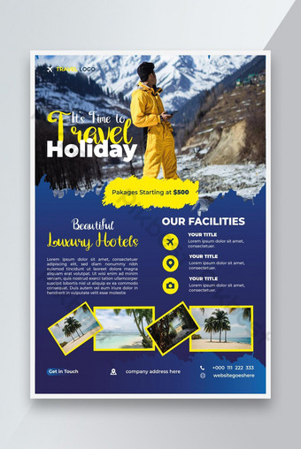 Couleur jaune Temple de déplacement de voyages de voyage et d'agence de voyage en couleur jaune Flyer Design Modèle EPS