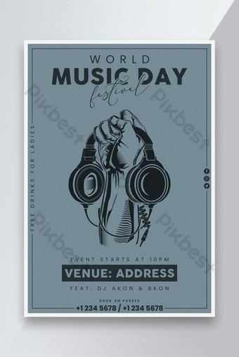 Desain Poster Acara Hari Musik Dunia Templat PSD