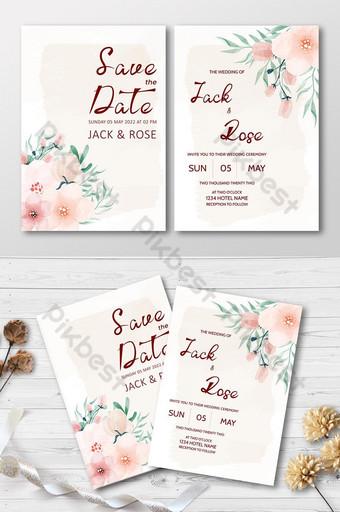 Belle carte de mariage florale aquarelle Modèle AI