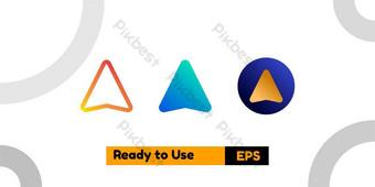 Compartir icono con tres degradados de estilo para carteles sociales y presentación. Elementos graficos Modelo EPS