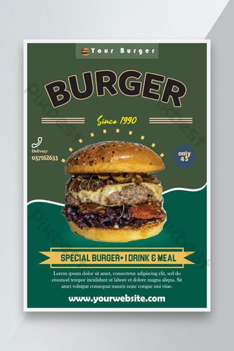 Desain Poster Burger Templat EPS