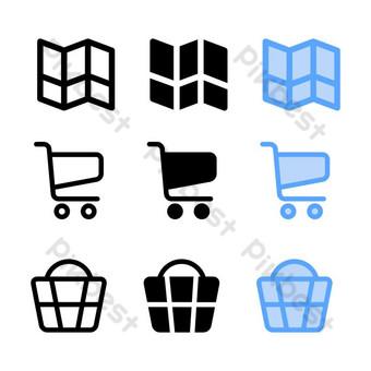 Icono de la cesta con tres estilo para el sitio web de redes sociales y presentación. Elementos graficos Modelo AI