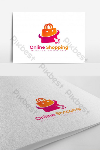 Online Shopping logo design template, concept for mouse pointer Template AI