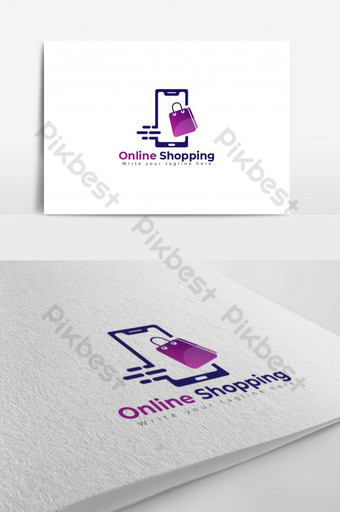 Online shopping logo with phone, bag concept Template AI