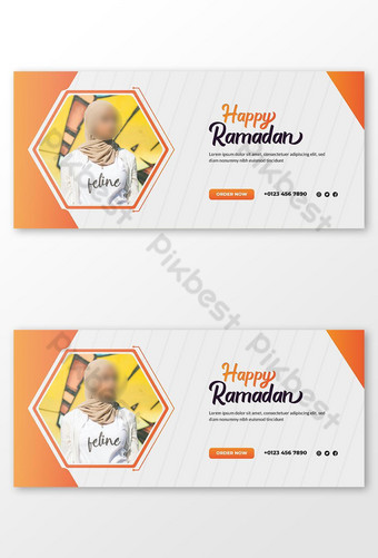 Ramadan Kareem Diskon Penjualan Facebook Cover atau Template Web Templat AI