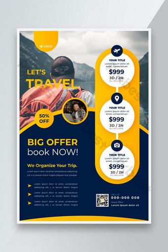 Tur Flyer Travel Tour dan Travel Flyer dan Konsep Bisnis Templat Flyer Travel Templat AI