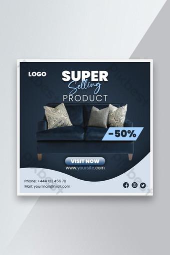 Penjualan furnitur Promosi templat spanduk sosial Templat PSD