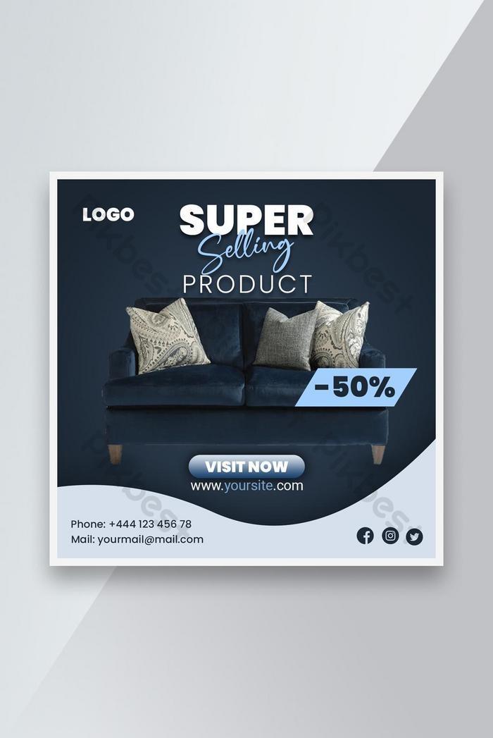 penjualan furnitur promosi templat spanduk sosial