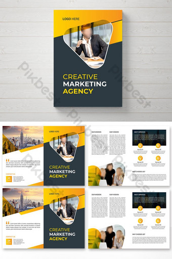 Digital Marketing Bifold Brochure Design Template Templat EPS