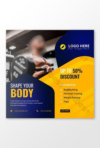 Gym Promosi dan Kebugaran Media Sosial Instagram Post Banner Desain Template Vector Templat AI