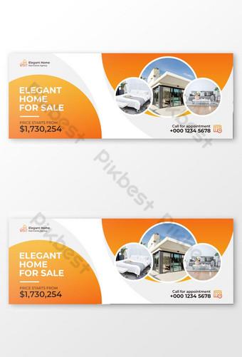 Penjualan Rumah Elegan Facebook Cover dan Templat Spanduk Web Templat PSD