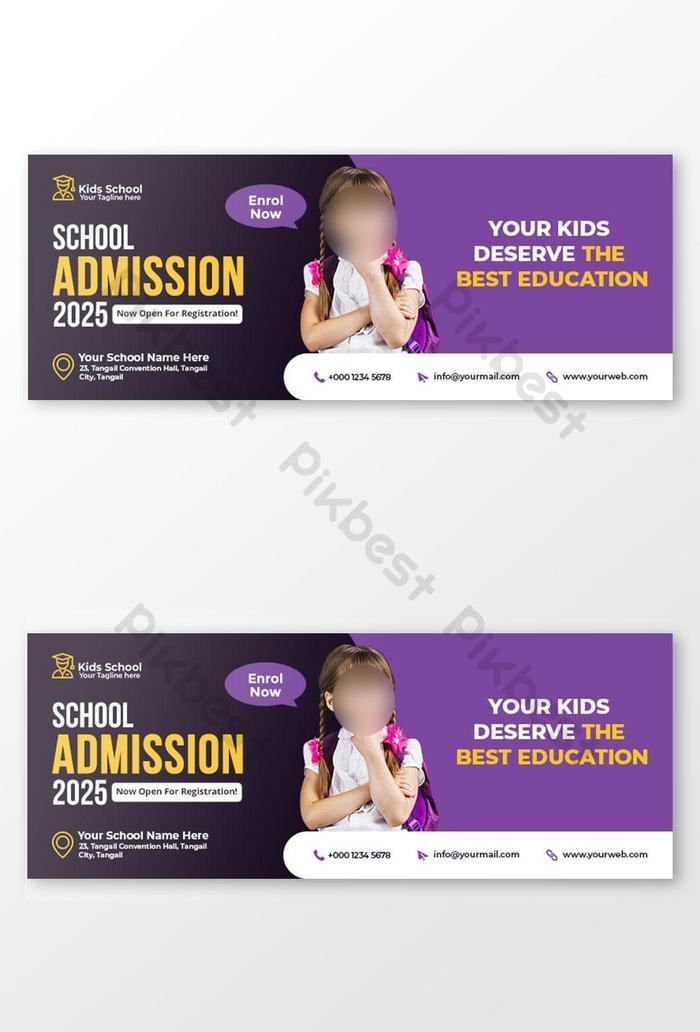 penerimaan sekolah anak-anak facebook sampul foto dan templat banner web
