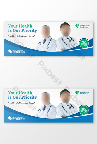 Penutup Facebook Kesehatan Medis dan Templat Banner Web Templat PSD
