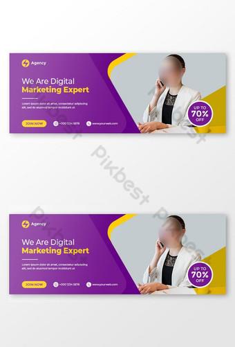 Pakar Pemasaran Digital Facebook Cover dan Templat Banner Web Templat PSD