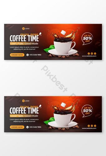 Coffee Shop Facebook Cover Photo dan Web Banner Template Templat PSD