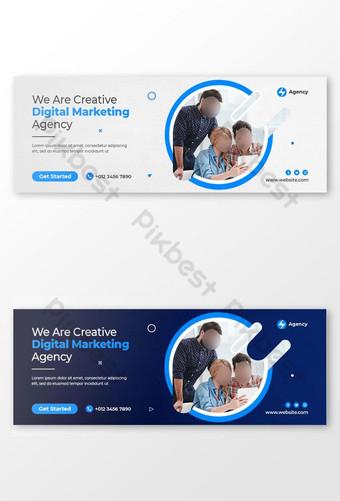 Kreatif Digital Marketing Business Facebook Cover dan Template Post Media Sosial Templat PSD