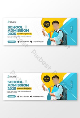 Penerimaan Sekolah Anak Penutup Facebook dan Templat Banner Web Templat PSD
