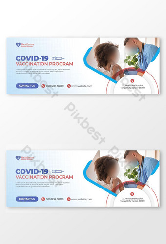Covid 19 Program Vaksinasi Penutup Facebook dan Template Pos Media Sosial Templat PSD