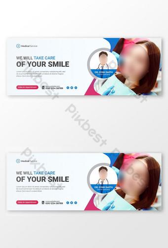 Dokter Gigi dan Perawatan Gigi Facebook Cover dan Template Media Sosial Templat PSD