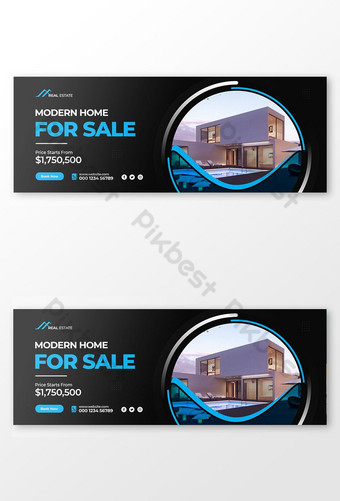 Penjualan Rumah Modern Penutup Facebook dan Templat Banner Web Templat PSD