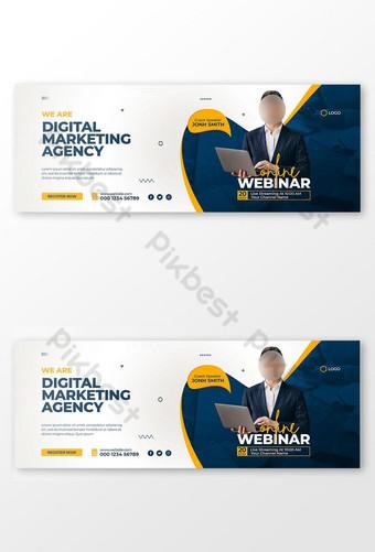 Digital Marketing Business Facebook Cover dan Templat Banner Web Templat PSD