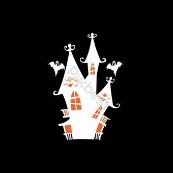 Bast Halloween Desain T Shirt Elemen Grafis Templat EPS