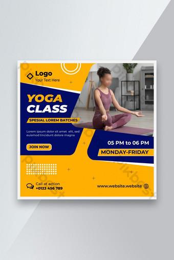 Редактируемый мир йога день социальные медиа течет фитнес или тренажерный зал веб-сайт шаблон шаблон EPS